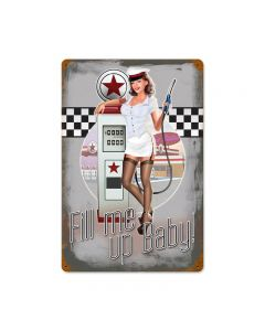 50's Pump Girl, Automotive, Vintage Metal Sign, 18 X 12 Inches