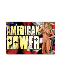 American Power Pinup, Pinup Girls, Vintage Metal Sign, 12 X 18 Inches