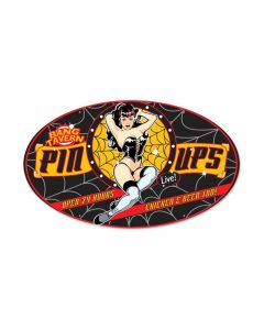 Bang Tavern, Pinup Girls, Oval Metal Sign, 24 X 14 Inches