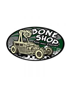 Bone Shop, Automotive, Oval Metal Sign, 24 X 14 Inches