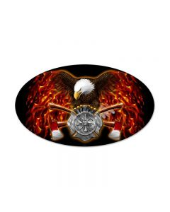 FD Eagle, Other, Oval Metal Sign, 24 X 14 Inches