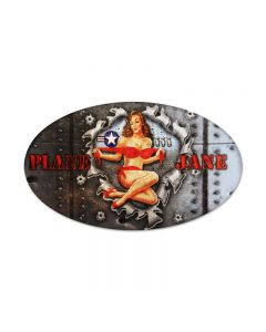 Plane Jane, Pinup Girls, Oval Metal Sign, 14 X 24 Inches