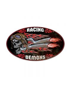 Raising Demons, Motorcycle, Oval Metal Sign, 24 X 14 Inches