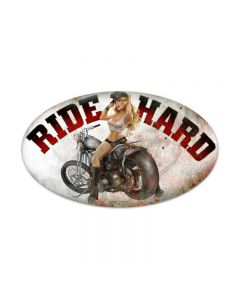 Ride Hard, Motorcycle, Oval Metal Sign, 24 X 14 Inches