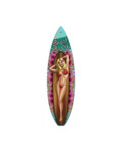 Beach Bunny, Pinup Girls, Surfboard Metal Sign, 6 X 22 Inches
