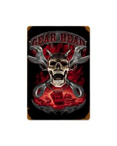Gearhead, Motorcycle, Vintage Metal Sign, 12 X 18 Inches