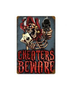 Cheaters Beware, Humor, Vintage Metal Sign, 12 X 18 Inches