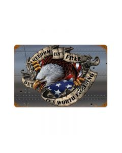 Freedom Isn't Free, Allied Military, Vintage Metal Sign, 18 X 12 Inches