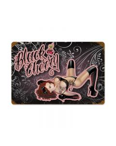 Black Cherry, Pinup Girls, Vintage Metal Sign, 12 X 18 Inches