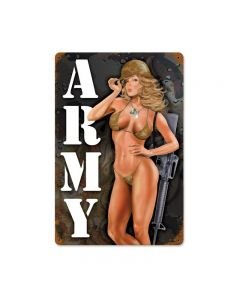 Army Pinup, Allied Military, Vintage Metal Sign, 18 X 12 Inches