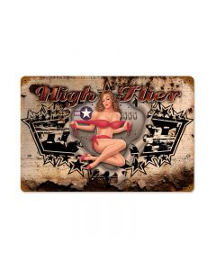 High Flier, Pinup Girls, Vintage Metal Sign, 18 X 12 Inches