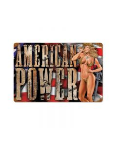American Power, Pinup Girls, Vintage Metal Sign, 18 X 12 Inches