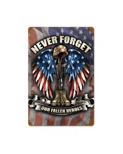 Fallen Heroes, Allied Military, Vintage Metal Sign, 12 X 18 Inches