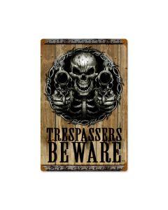 Trespassers Beware, Humor, Vintage Metal Sign, 12 X 18 Inches