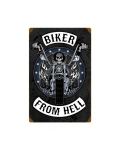 Biker From Hell, Motorcycle, Vintage Metal Sign, 12 X 18 Inches