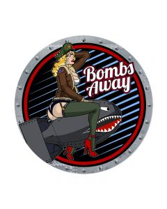Bombs Away, Pinup Girls, Round Metal Sign, 14 X 14 Inches