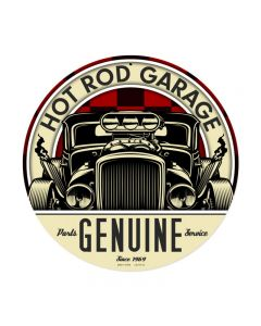 Genuine Hot Rod, Automotive, Round Metal Sign, 14 X 14 Inches