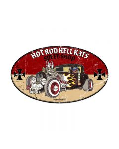 Hot Rod Hell Kats, Automotive, Oval Metal Sign, 24 X 14 Inches