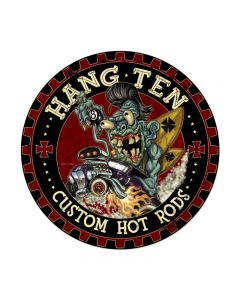 Hot Rod Monster, Automotive, Round Metal Sign, 14 X 14 Inches