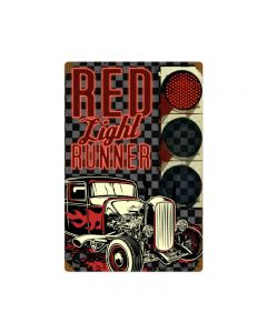 Red Light Runner, Automotive, Vintage Metal Sign, 12 X 18 Inches