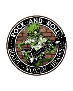 Rock n Roll, Sports and Recreation, Round Metal Sign, 14 X 14 Inches