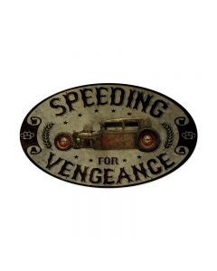 Speeding Vengance, Automotive, Oval Metal Sign, 24 X 14 Inches