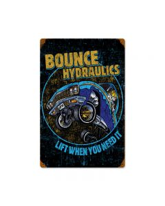 Bounce Hydraulics, Automotive, Vintage Metal Sign, 12 X 18 Inches