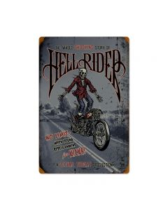 Hell Rider, Motorcycle, Vintage Metal Sign, 16 X 24 Inches