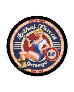 Lethal Garage, Pinup Girls, Round Metal Sign, 14 X 14 Inches