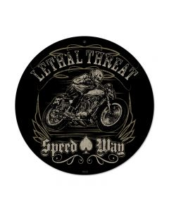 Lethal Speedway, Motorcycle, Round Metal Sign, 14 X 14 Inches