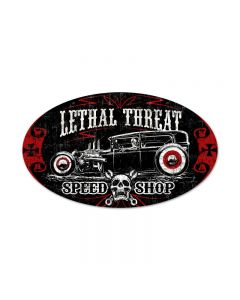 Lethal Speedshop, Automotive, Oval Metal Sign, 24 X 14 Inches