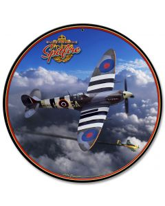 Spitfire, Featured Artists/All American Art by Larry Grossman, SATIN ROUND METAL SIGN , 28 X 28 Inches