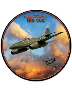 Me-262 Jet, Featured Artists/All American Art by Larry Grossman, Round, 28 X 28 Inches