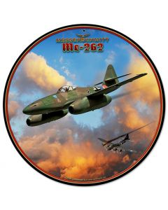 Me-262 Jet, Featured Artists/All American Art by Larry Grossman, Round, 14 X 14 Inches