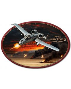 A-10 Warthog Oval Flat, Featured Artists/All American Art by Larry Grossman, Plasma, 17 X 12 Inches