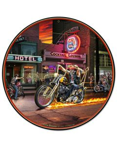 Highway To Hell, Featured Artists/All American Art by Larry Grossman, Round, 14 X 14 Inches