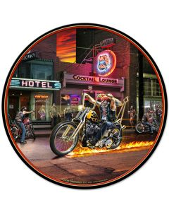 Highway To Hell, Featured Artists/All American Art by Larry Grossman, Round, 28 X 28 Inches