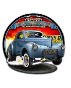 3-D 1941 S.W.C. Willys Gasser, Featured Artists/All American Art by Larry Grossman, Plasma, 19 X 18 Inches