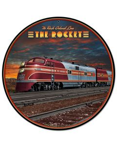 Rocket Train, Featured Artists/All American Art by Larry Grossman, Round, 14 X 14 Inches