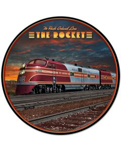 Rocket Train, Featured Artists/All American Art by Larry Grossman, Round, 28 X 28 Inches