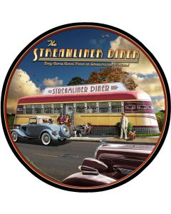 Streamliner Diner, Automobile, Round, 14 X 14 Inches