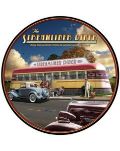 Streamliner Diner, Automobile, Round, 28 X 28 Inches
