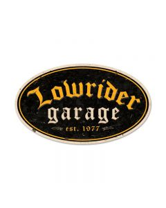 Lowrider Garage, Automotive, Oval Metal Sign, 24 X 14 Inches
