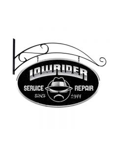 Lowrider Service, Automotive, Double Sided Oval Metal Sign with Wall Mount, 24 X 14 Inches