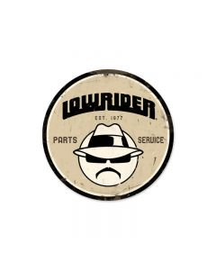 Lowrider Parts Service, Automotive, Round Metal Sign, 14 X 14 Inches