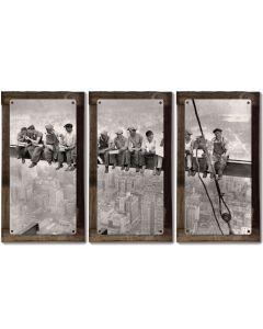 "Lunch Atop A Skyscraper, METAL, Triptych, 3 Panel, On American Steel, Optional Barn Wood Frame, Wall Decor, Wall Art, 54""x36"""