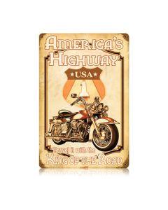 Americas Highway, Motorcycle, Vintage Metal Sign, 12 X 18 Inches
