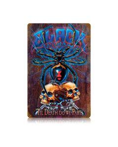 Black Widow Rustic, Motorcycle, Vintage Metal Sign, 12 X 18 Inches