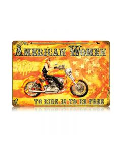 American Women, Motorcycle, Vintage Metal Sign, 18 X 12 Inches