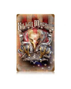 Killer Machine, Motorcycle, Vintage Metal Sign, 12 X 18 Inches